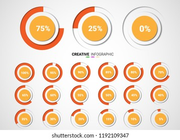 Set of circle percentage diagrams from 0 to 100 ready-to-use for web design, ui, infographic - indicator with orange.