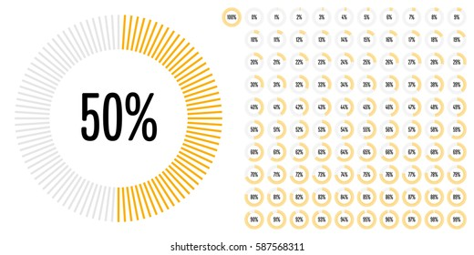 Set of circle percentage diagrams from 0 to 100 for web design, user interface (UI) or infographic - indicator with yellow