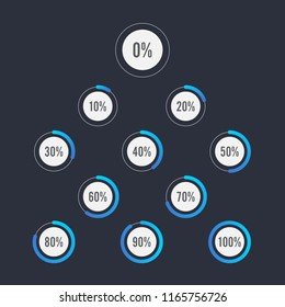 Set of circle percentage diagrams for infographics design elements