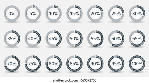 Set of circle percentage diagrams for infographics, 0 5 10 15 20 25 30 35 40 45 50 55 60 65 70 75 80 85 90 95 100 percent. Vector illustration