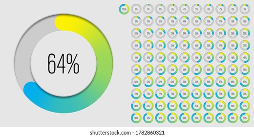 Set of circle percentage diagrams meters from 0 to 100 ready-to-use for web design, user interface UI or infographic 3D concept - indicator with gradient from yellow to cyan blue