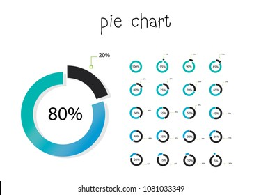 Set of circle percentage flow diagrams, pie chart for Your documents, reports, presentations for,infographics, 0 5 10 15 20 25 30 35 40 45 50 55 60 65 70 75 80 85 90 95 100 percent.Vector illustratio.