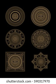Set of circle and square ornaments with eye