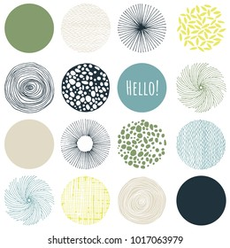 Set of circles and leaves, pastel green, yellow, gold, blue-green and black isolated on white background. Modern and stylish greeting card, wall art, poster design.