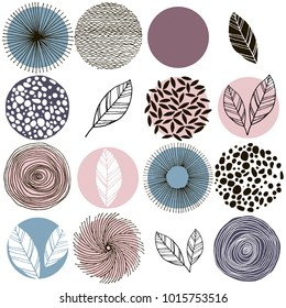 Set of circles and leaves, pastel pink,  purple, brown, blue-green and black isolated on white background. Modern and stylish greeting card, wall art, poster design. Isolated on white background.
