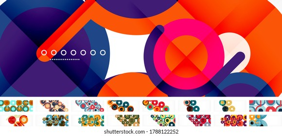 Set of circles and lines compositions, abstract backgrounds for covers, banners, flyers and posters and other templates. Vector illustration