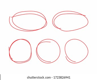 Set of circles and ovals drawn by hand. Doodle, sketch, scribble. Vector illustration.