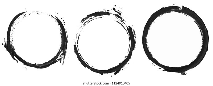 Set of circles painting, hand painted image, Vector illustration