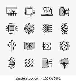 Set of circuit tech elements. Electronics icon. Tech logo.