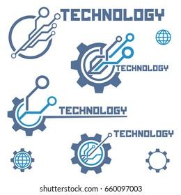 Set of circuit tech elements. Electronics icon. Tech logo.