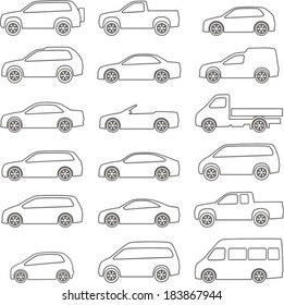 set of circuits with different types of vehicles bodies