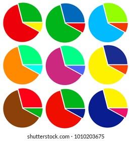 A set of circular diagrams on a white background. Flat design, vector.