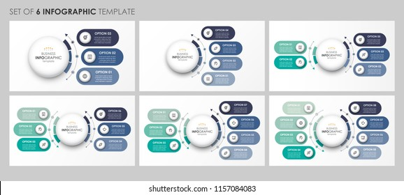 Set of circular Infographic design with icons and 3, 4, 5, 6, 7, 8 options or steps. Business concept.  Can be used for process diagram, presentations, workflow layout, banner, flow chart, info graph.
