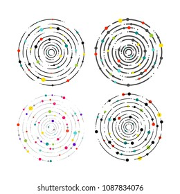 Set of circular lines and color dots. Circular lines graphic pattern, dashed line ripples. Geometric element, concentric, radiating circles, vortex. Vector illustration. Isolated on white background