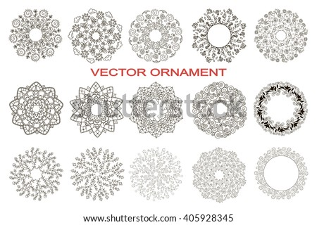 Set Circular Ornaments Floral Pattern Floral Stock Vector Royalty
