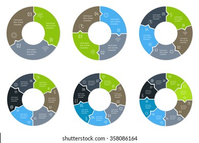 Set of circular puzzle infographic diagrams. Vector connected charts with 3, 4, 5, 6, 7, 8 options. Paper progress steps for tutorial. Business concept sequence banners. EPS10 workflow layouts.