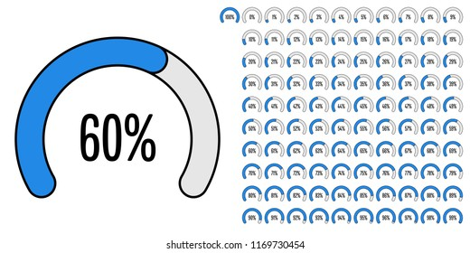 Set of circular sector percentage diagrams from 0 to 100 ready-to-use for web design, user interface (UI) or infographic - indicator with blue