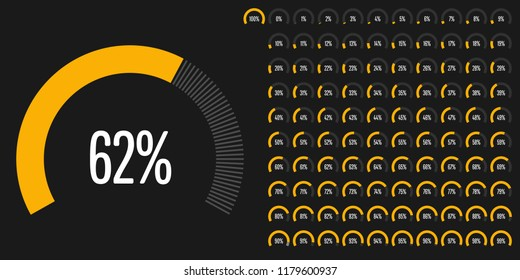 Set of circular sector percentage diagrams from 0 to 100 ready-to-use for web design, user interface (UI) or infographic - indicator with yellow