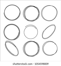 A set of circular sketches. Drawn lines. Vector circular doodle, circles for text, note, design element. Pencil or ghathic pen, illustration of a ball, bubble, ellipse