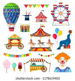 Set of circus and amusement icons in flat style on white background