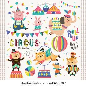 Set of circus cartoon animals