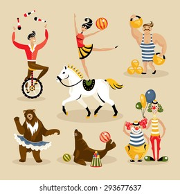 Set of circus characters and animals vector illustration