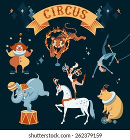 A set of circus characters. Vector illustration on dark background