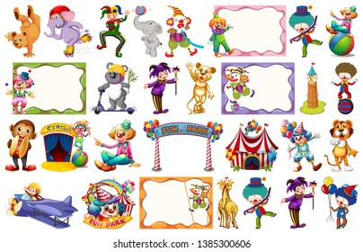 Set of circus element illustration