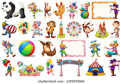Set of circus element illustration