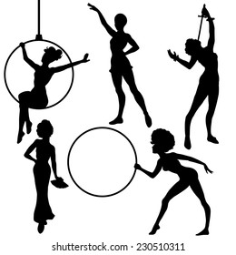 Set of circus girls silhouettes