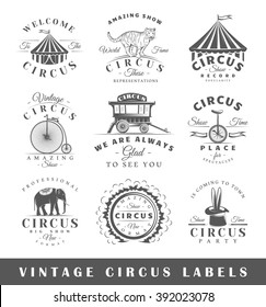 Set of circus labels. Elements for design on the circus theme. Collection of circus symbols: tent, juggler, animals. Modern labels of circus. Emblems and logos of circus. Vector illustration