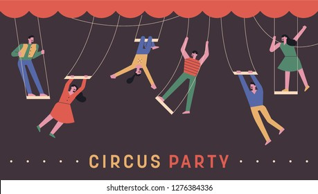 A set of circus members holding a swing stunt. concept illustration. flat design vector graphic style.