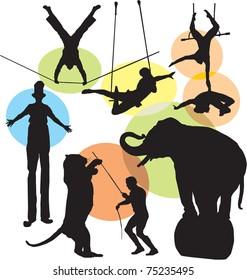 set circus silhouettes