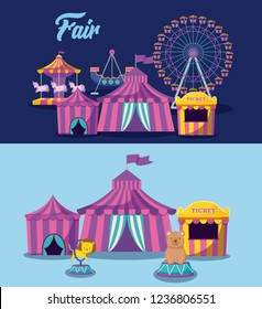 set circus tent and icons