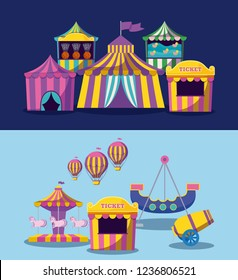 set circus tents with garlands isolated icon