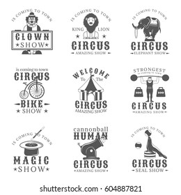 Set of circus vintage emblems, labels, badges and logos in monochrome style on white background. Amazing show, strong man, animals show, magic show, human cannonball,clown show design elements