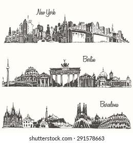 Set of cities, New york, Berlin, Barcelona, engraved vector illustration, hand drawn