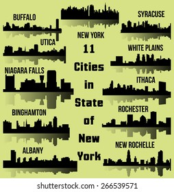 Set of Cities in State of New York (Albany, New York, Buffalo, Ithaca, Syracuse, New Rochelle, White Plains, Rochester, Binghamton, Utica, Niagara Falls)