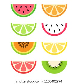 Set of citrus and exotic, tropical fruit slices; watermelon, orange, lime, dragon fruit, papaya, lemon, grapefruit and kiwi. Vector graphic summer fruit icons.
