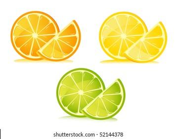 Set of citrus fruit - lemon, orange, and lime.