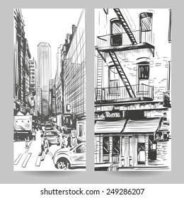 Set of city banner design elements hand drawn, vector illustration