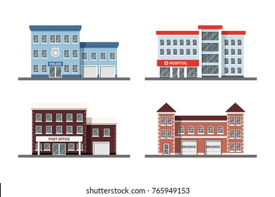 Set of city building icons: police station, hospital, post office and fire station. Flat style illustration.