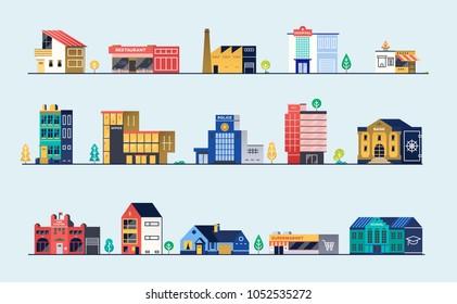 Set of city buildings. Bank, hospital, fire station, police station, shops and restaurants. Vector illustration.