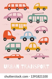 Set of city cars in funny cartoon style. Template for use in baby design, textiles, cards, packaging. Vector flat illustration on isolated background.