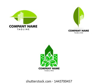 Set of City Leaf Logo Design Template