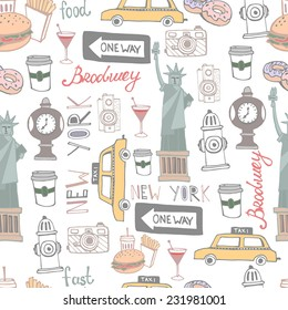 Set of the City New York. City background pattern.