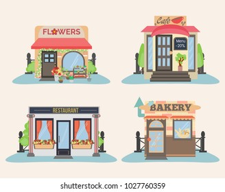 Set of city public buildings. Restaurants and shops facade icons. Bakery, flowers, cafe and restaurant.
