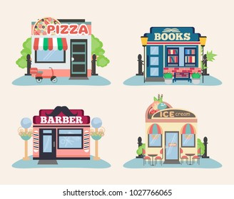 Set of city public buildings. Restaurants and shops facade icons. Pizza, books, barber and ice cream.