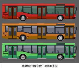 set of city public busses. vector illustration