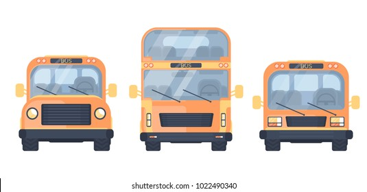 Set of city and school bus. Vehicle for transportation passengers.